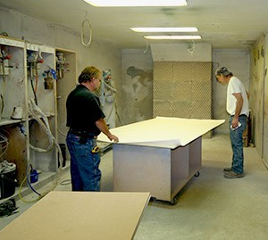 Caliper paint room in the woodworking mill
