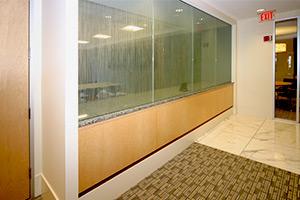 Holland & Knight glass/wood wall